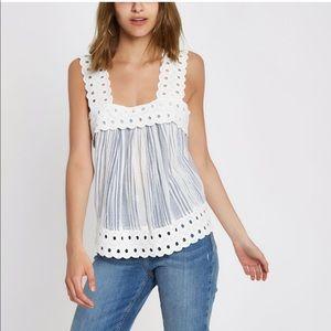 River island striped lace trim top blouse